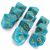 Black & Yellow Vortex D10 Ten Sided Dice Set